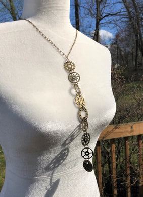 Antique Brass Gear Row Necklace