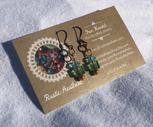 Copper, Aquamarine & Peridot Swarovski Crystal Earrings
