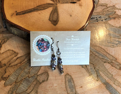 Gunmetal & Tanzanite Swarovski Crystal Earrings
