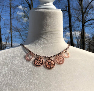 Shiny Copper Gear Necklace