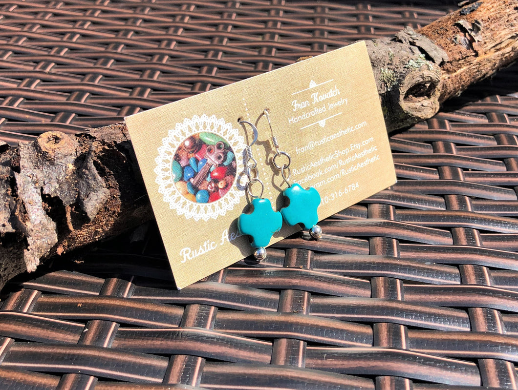 Chunky Turquoise & Silver Earrings