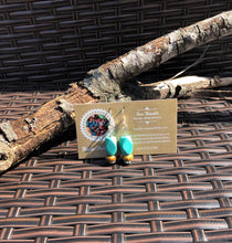 Turquoise Blue & Brown Porcelain Earrings