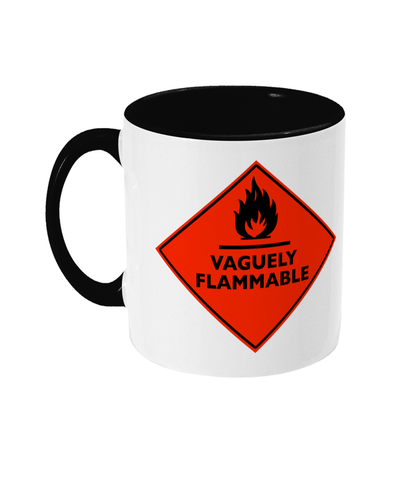 Slogans 'Vaguely Flammable' Red Sign Mug