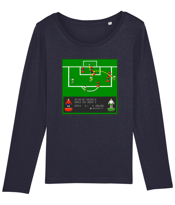 Football Iconic Moment 'Gerry Armstrong Spain v N IRELAND 1982' Ladies Long Sleeve
