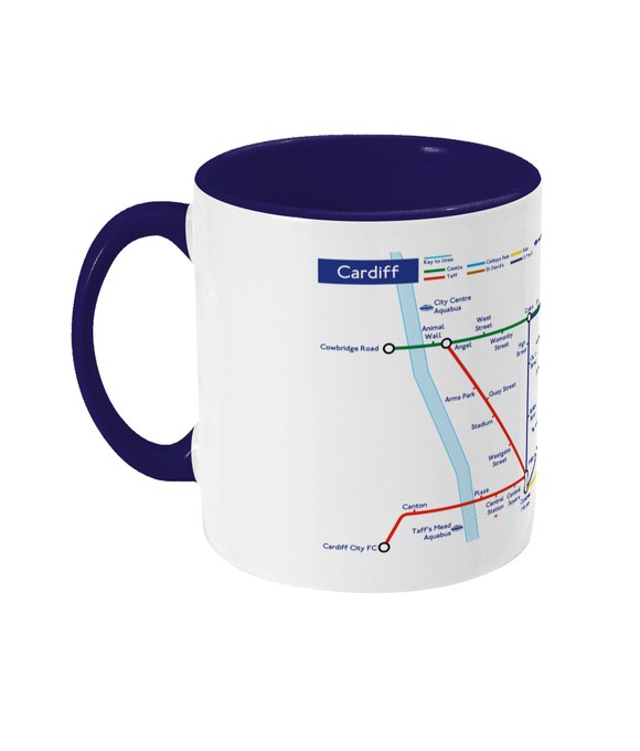 Maps and Signs Tube Map 'Cardiff' Mug