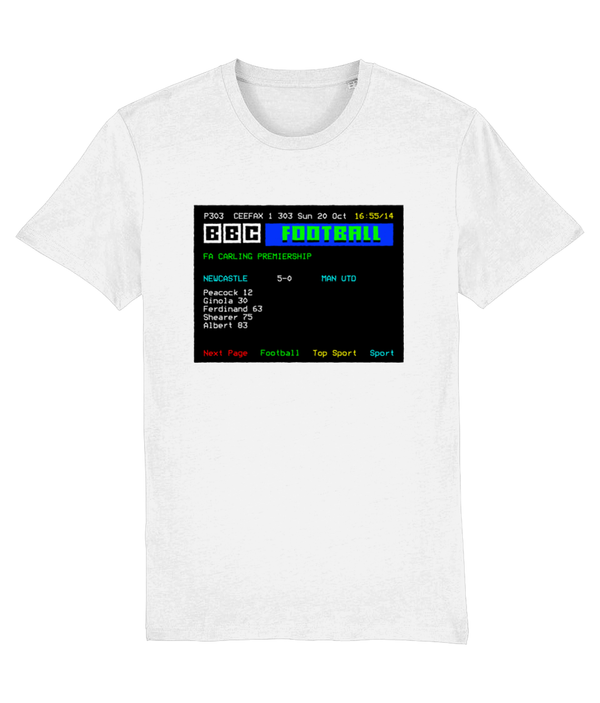 Football Teletext 'NEWCASTLE v Manchester U 1996' Unisex T-Shirt