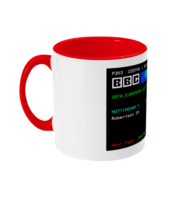 Football Teletext 'NOTTINGHAM F v Hamburg 1980' Mug