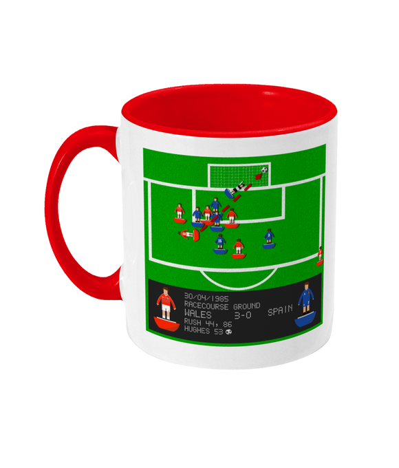 Football Iconic Moment 'Mark Hughes Wales v Spain 1985' Mug