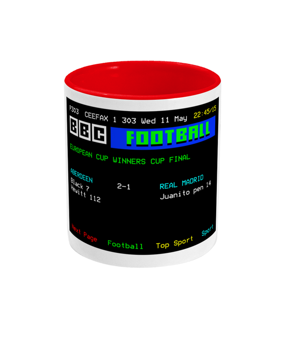 Football Teletext 'Aberdeen v Real Madrid 1983' Mug