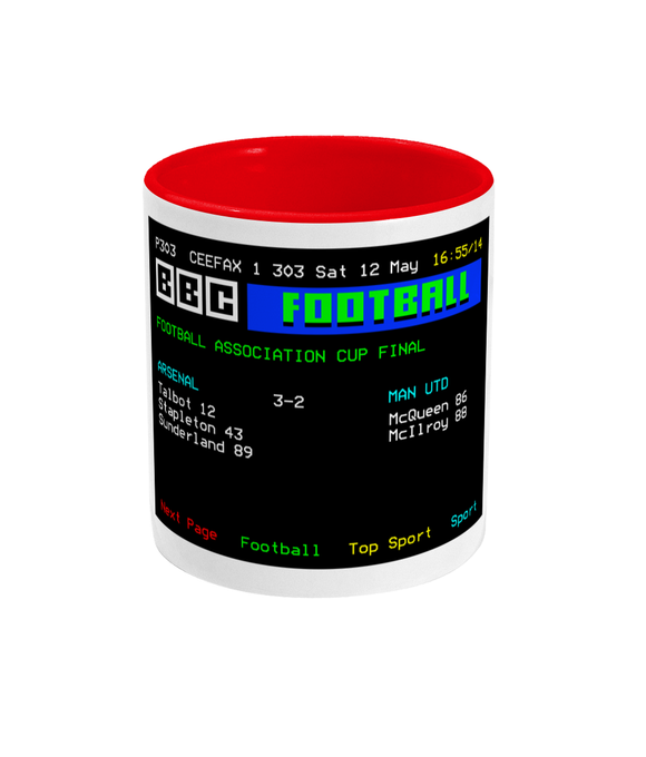 Football Teletext 'Arsenal v Man United 1979' Mug