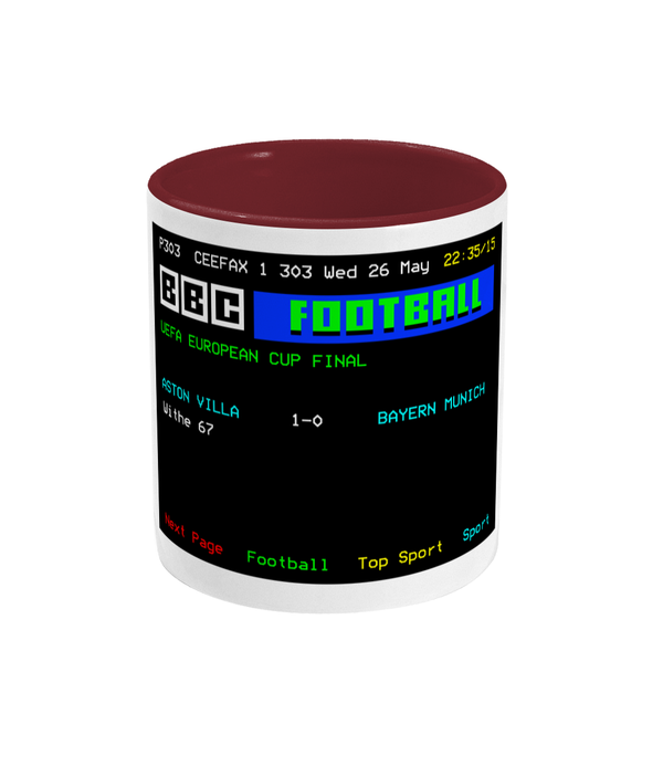 Football Teletext 'ASTON V v Bayern Munich 1982' Mug