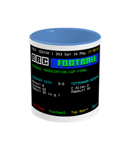 Football Teletext 'COVENTRY v Spurs 1987' Mug