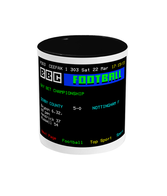 Football Teletext 'Derby C v Nottingham F 2014' Mug