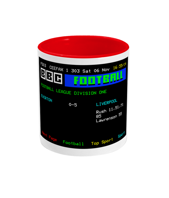 Football Teletext 'Everton v Liverpool 1982' Mug