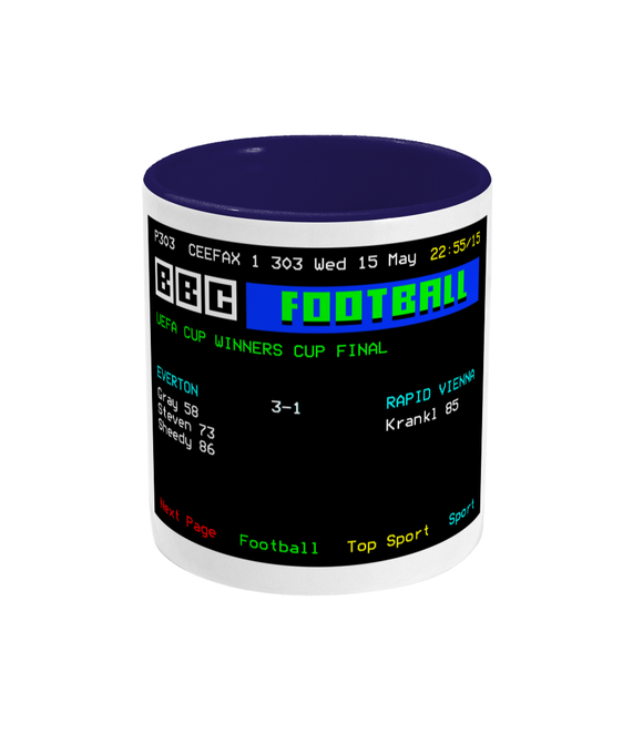 Football Teletext 'Everton v Rapid Vienna 1985' Mug