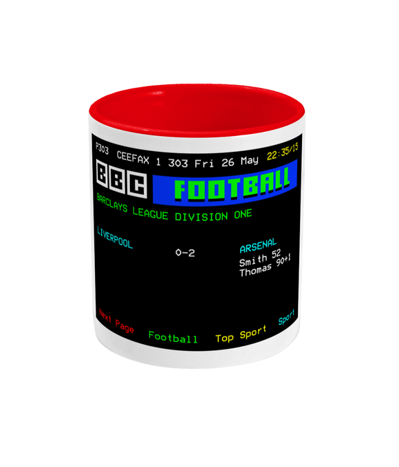 Football Teletext 'Liverpool v Arsenal 1989' Mug