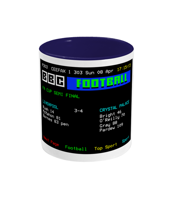 Football Teletext 'Liverpool v Crystal P 1990' Mug