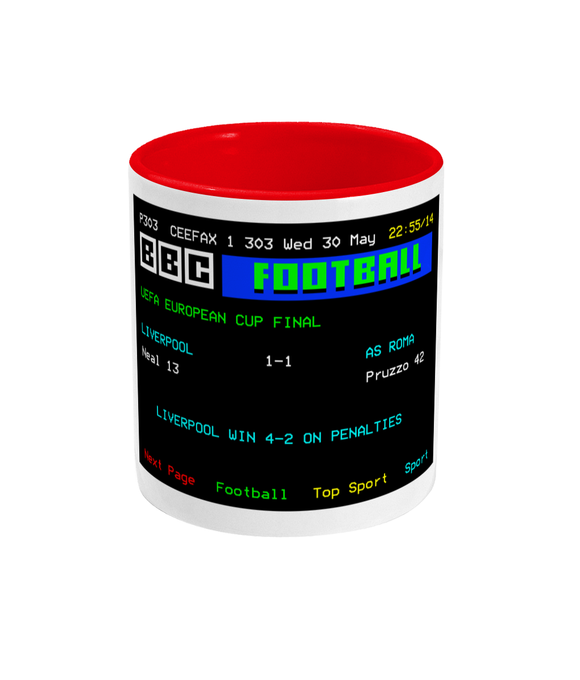 Football Teletext 'Liverpool v AS Roma 1984' Mug