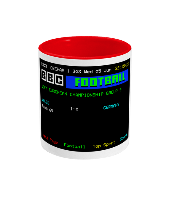 Football Teletext 'Wales v Germany 1991' Mug