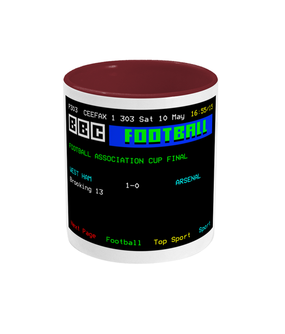 Football Teletext 'West Ham v Arsenal 1980' Mug