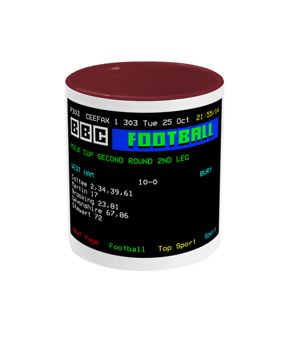 Football Teletext 'WEST HAM v Bury 1983' Mug