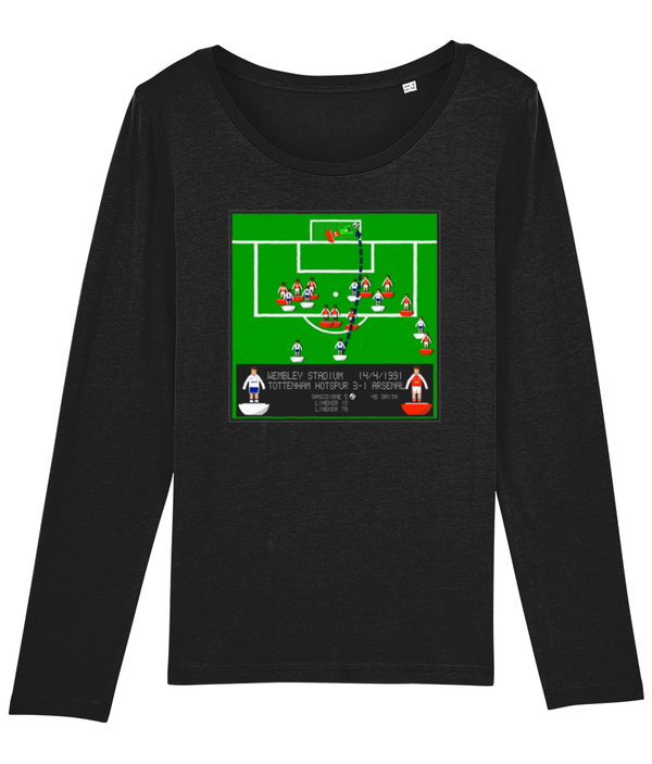 Football Iconic Moment 'Paul Gascoigne SPURS v Arsenal 1991' Ladies Long Sleeve
