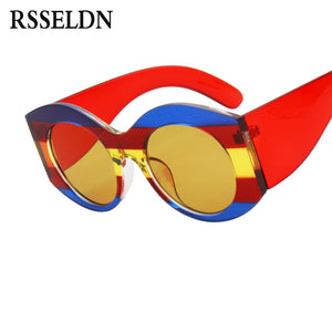 fa356f96ee0b0 RSSELDN Fashion Thick Frame Sunglasses Women Oversized Mixed Colors Sun  glasses for Women 2018 Green Red