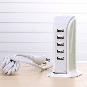 30W High Quality 5 Ports Multi USB Charger HUB Universal Mobile Phone Charging Station Dock Desktop Wall Home Chargers