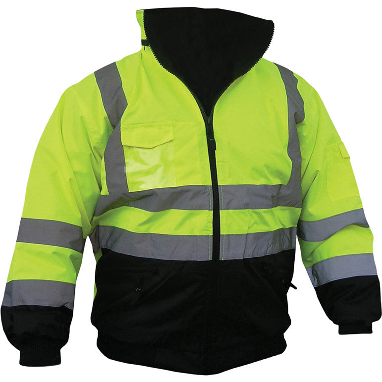 High Visibility Class III Bomber Jacket with Removable Lining - Black/Yellow