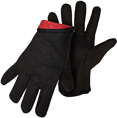 HAND GEAR LINED BROWN JERSEY GLOVES - 6 PACK