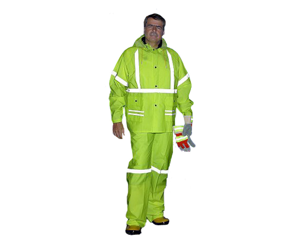 Lime Green Rain suit with Reflective Stripes