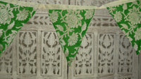 Green banarsi chiffon with cream braid trim