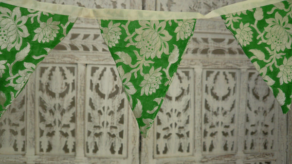 Green Banarsi Chiffon Bunting With Cream Braid Trim