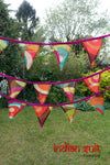 Colourful Cotton Printed Reclaimed Bunting- Approx 7 Metres - Indian Suit Company