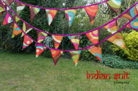 Colourful Cotton Printed Reclaimed Bunting- Approx. 7 Metres - Indian Suit Company