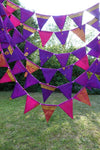 20 Metres Of Purple, Pink And Gold Indian Silk Wedding Bunting - New - Indian Suit Company