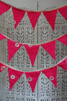 Bright Pink Silk Vintage Indian Wedding Bunting 5 Metres - Indian Suit Company