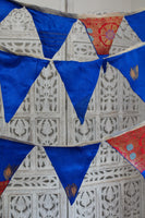 Blue Indian Pure Silk Vintage Bunting Flags Wedding 5 Metres - Indian Suit Company