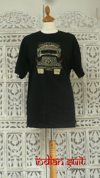 "Black Art Workshop 1469 T-Shirt With Indian ""Tata Public Carrier"" Truck -Size X-Large  New - Indian Suit Company"
