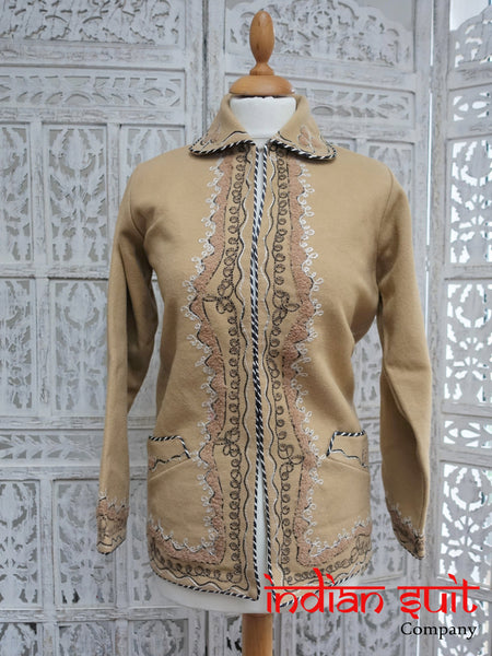 Traditional Camel Hand Stitched Wool Blend Handmade Jacket - Preloved
