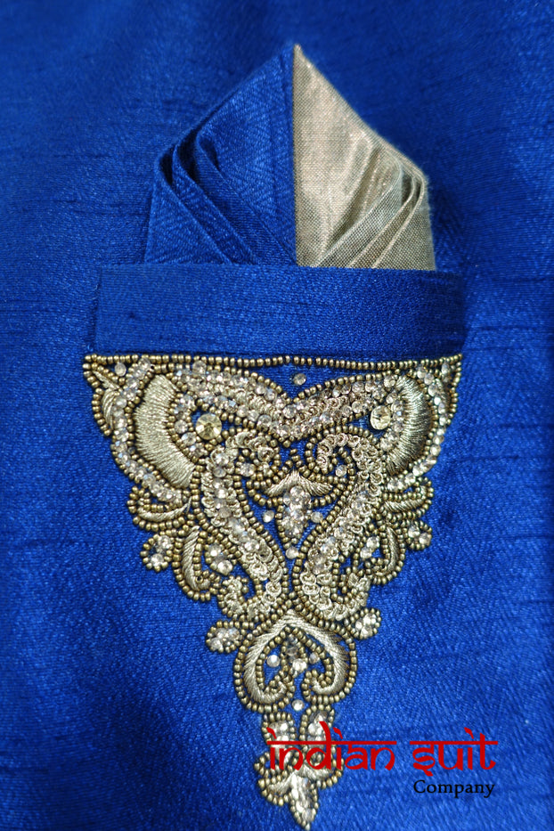 Blue Wedding Xxl Sherwani To Fit 48 Inch Chest- Preloved - Indian Suit Company