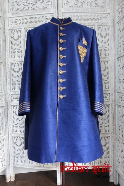 Blue Wedding XXL Sherwani To Fit 50 Inch Chest- Preloved - Indian Suit Company