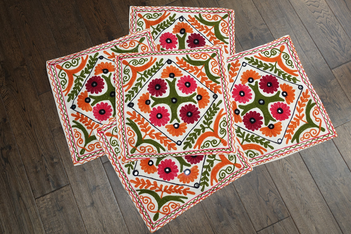 Pack Of Five Embroidered Boho Cushion Covers - Indian Suit Company