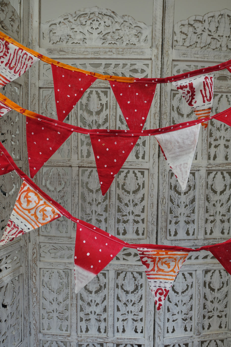 Red cotton printed bunting - 7 metre - Indian Suit Company