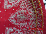 Red Vintage Dhabka Worked Wedding Tray - Preloved - Indian Suit Company