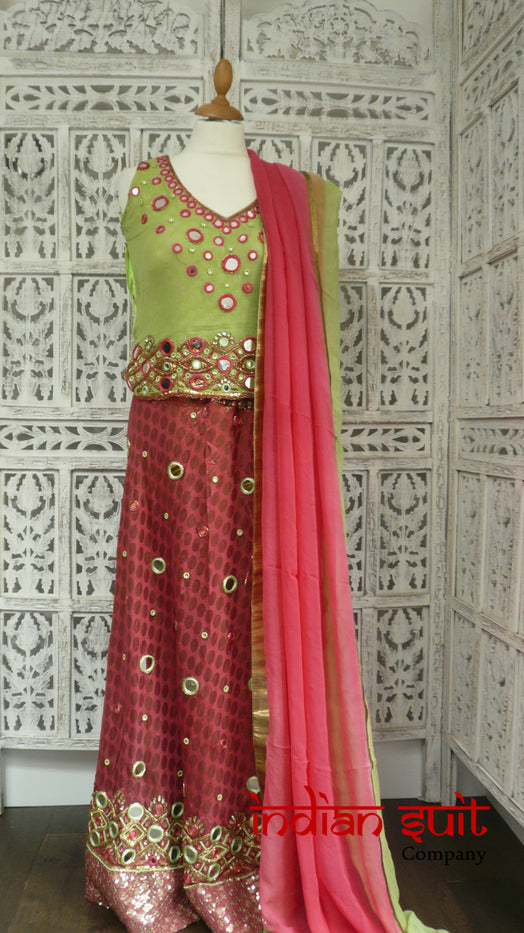 Green & Pink Mirrored Lengha - UK Size 10 / EU Size 36 - Preloved - Indian Suit Company