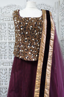 Plum Velvet Sati Takhar Lengha - Preloved - UK 12 / EU 38 - Indian Suit Company