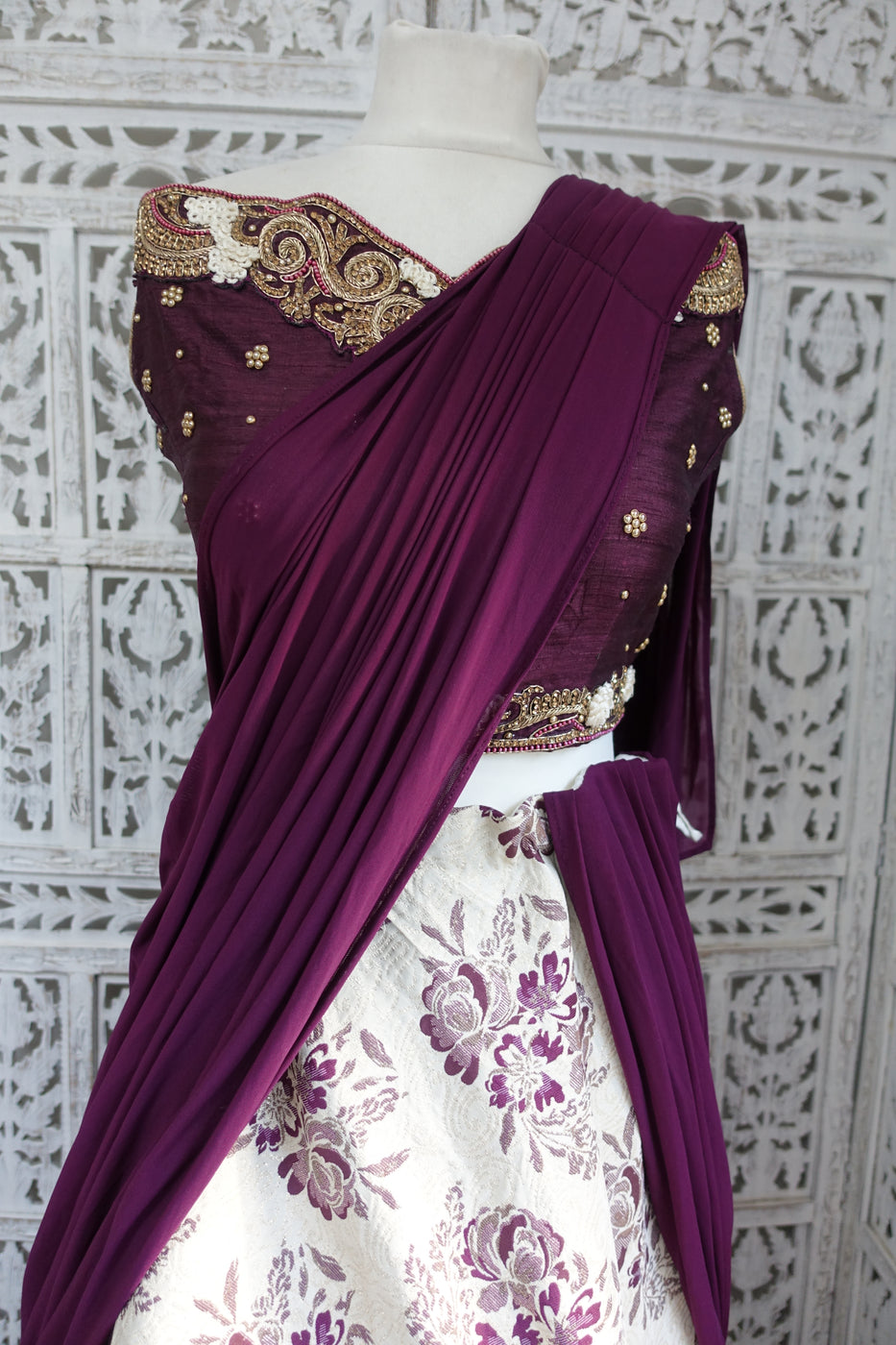 Cream & Plum Lengha - UK Size 12 / EU Size 38 - Preloved - Indian Suit Company