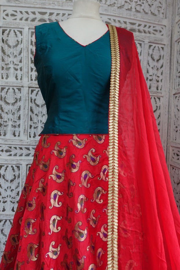 Teal & Red Silk Lengha - UK 12 / EU 38 - Preloved - Indian Suit Company