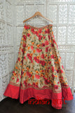 Floral Printed Lengha With Cream Silk Top UK 12 / EU 38 - New - Indian Suit Company